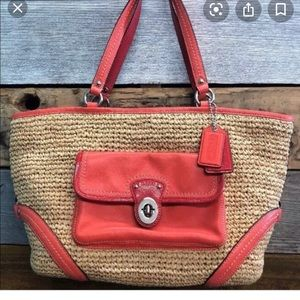 """Coach Straw and coral leather bag 17"""" x9"""" authentc"""